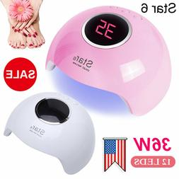 36W Star6 Nail Lamp UV LED Light Pro Nail Dryer Gel Curing L