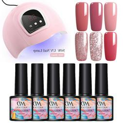 7Pc/Kit MAD DOLL Glitter UV Gel Nail Polish Soak Off LED 54W