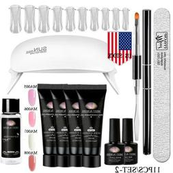 MEET ACROSS 8/11Pcs/Set Poly Nails Gel Kit With UV Led Lamp