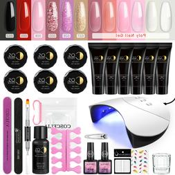 Nail Art Poly Gel Set UV LED Nail Dryer Lamp Soak Off Gel 12