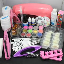 Nail Art UV Gel Kit Tools UV lamp Brush Tips Glue Acrylic Po