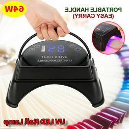 Pro 64W Rechargeable UV LED Gel Nail Lamp Art Polish Dryer M