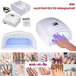 White 48W Cordless Wireless Rechargeable LED/UV Nail Lamp Ge